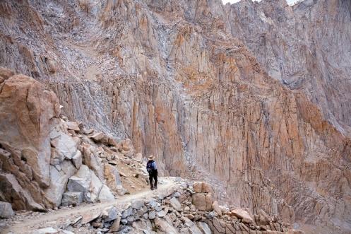 A hiker going down a trail.