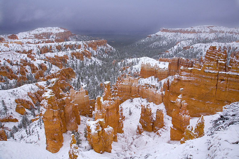 Fresh snow blankets the hoodoos at Bryce Canyon.