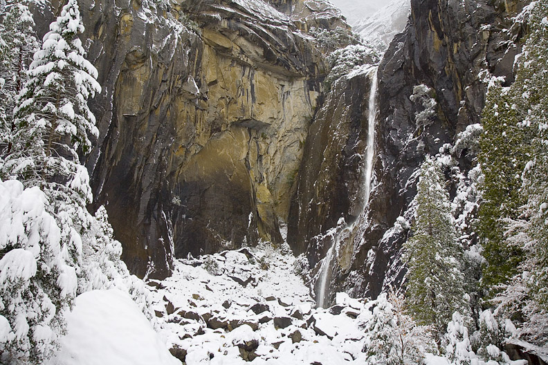 A frozen lower Yosemite Falls