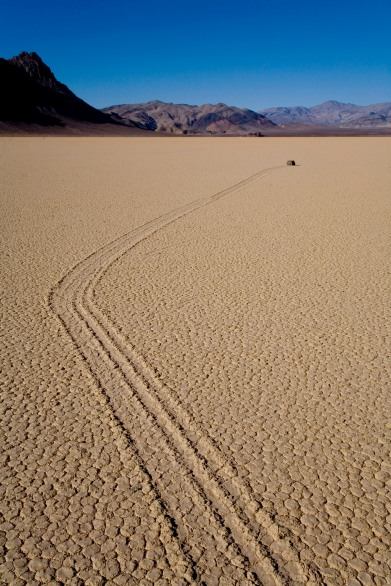 Your eyes will follow the path of this moving rock at Death Valley
