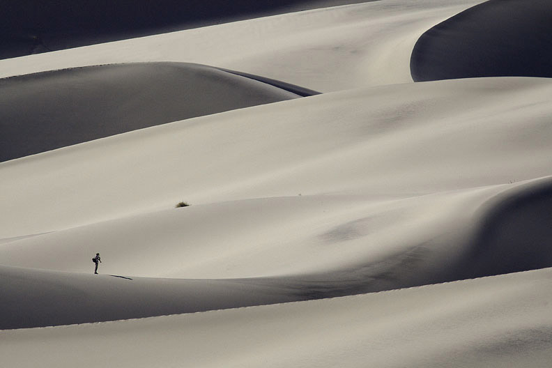 LONE HIKER ON EUREKA DUNES