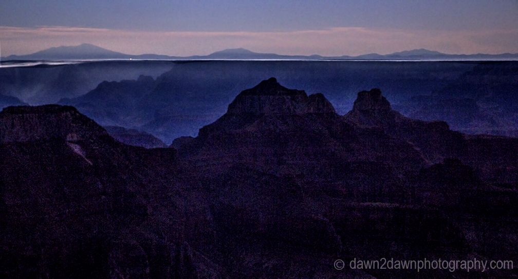 North Rim Grand Canyon Under a Half Moon