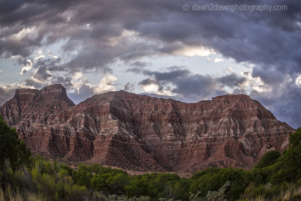 Storm clouds surround Gooseberry Mesa near Zion National Park, Utah