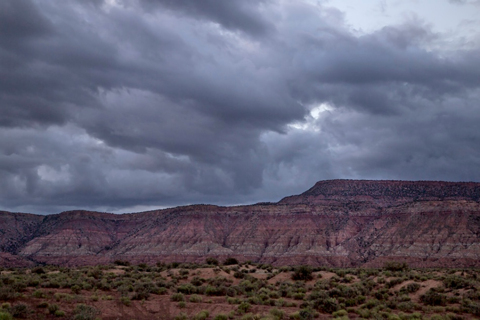 Storm clouds surround Hurricane Mesa near Zion National Park, Utah