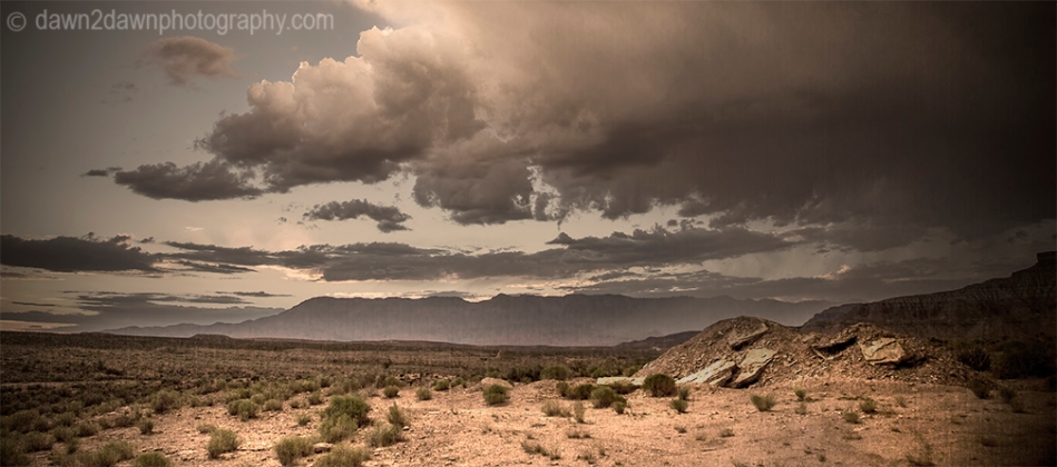 Storm clouds pass through the Southern Utah landscape near St. George