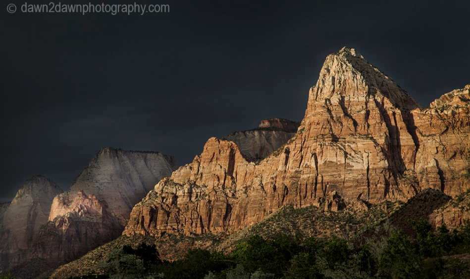 The sun sets on Zion Canyon at Zion National Park, Utah