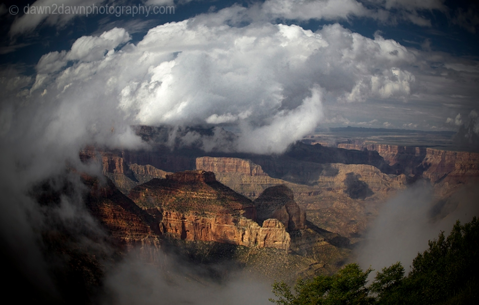 Fog rises from the depths of the Grand Canyon near Cape Royal at Grand Canyon National Park, Arizona