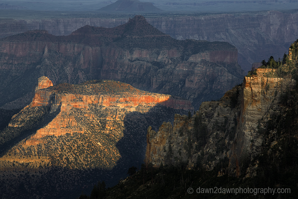The sun sets on the Grand Canyon at Grand Canyon National Park, Arizona