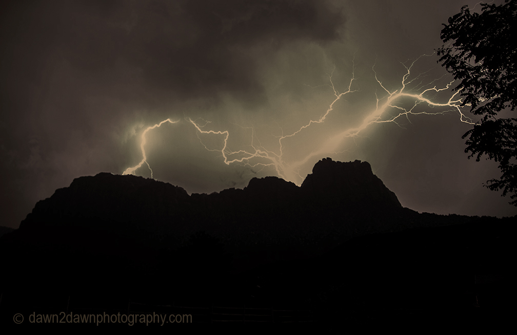 Lightning strikes The Watchman at Zion National Park, Utah