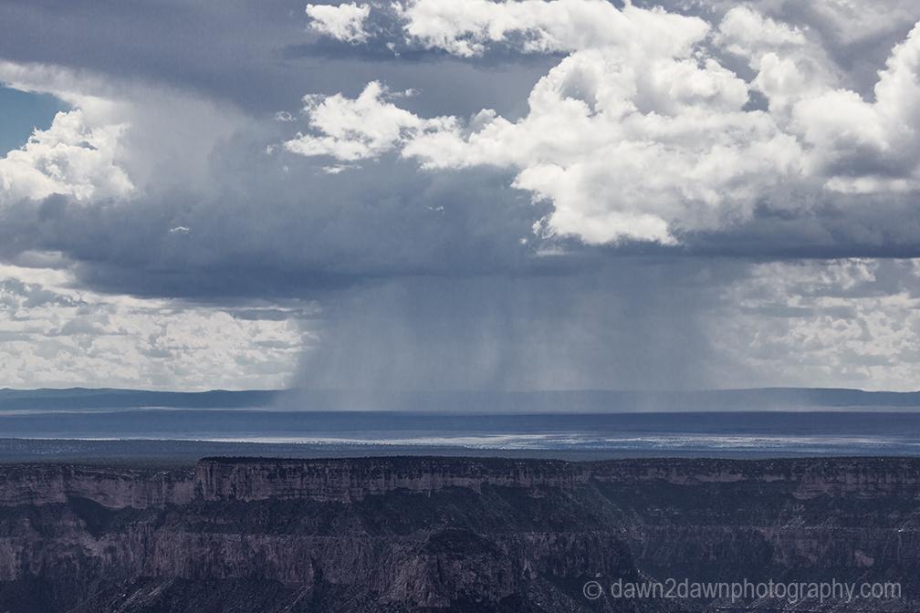 A storm cell moves toward the South Rim of The Grand Canyon at Grand Canyon National Park, Arizona