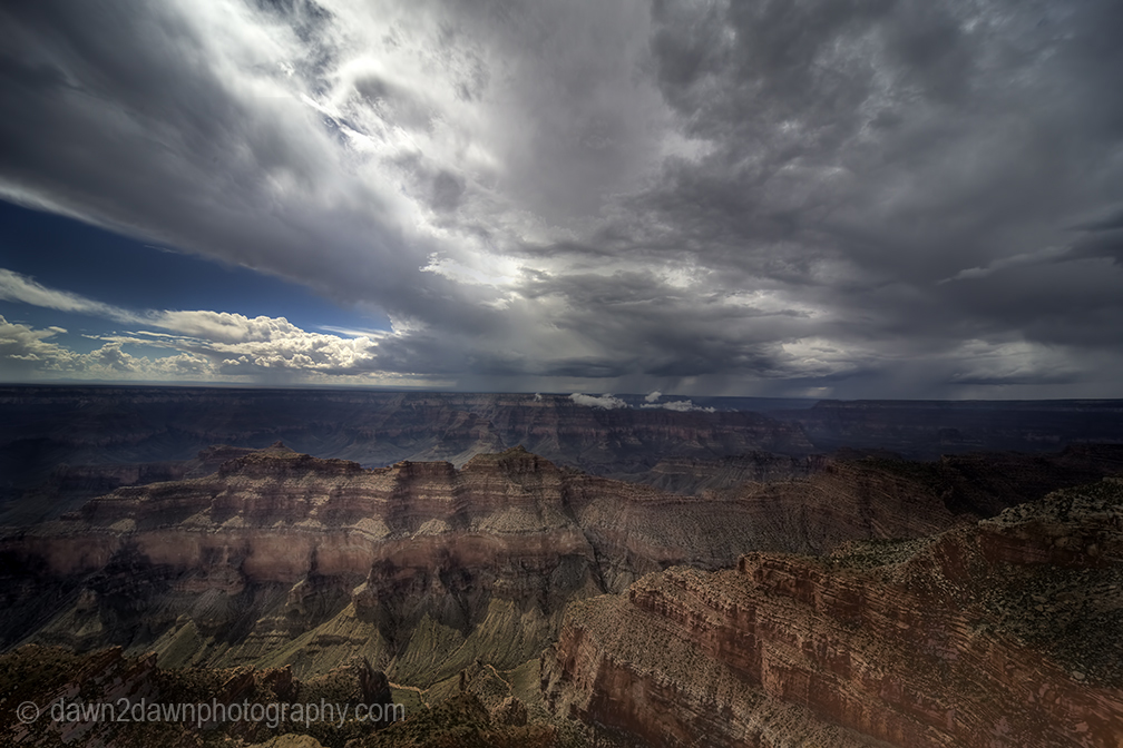 Storm cells pass through the Grand Canyon at Grand Canyon National Park, Arizona