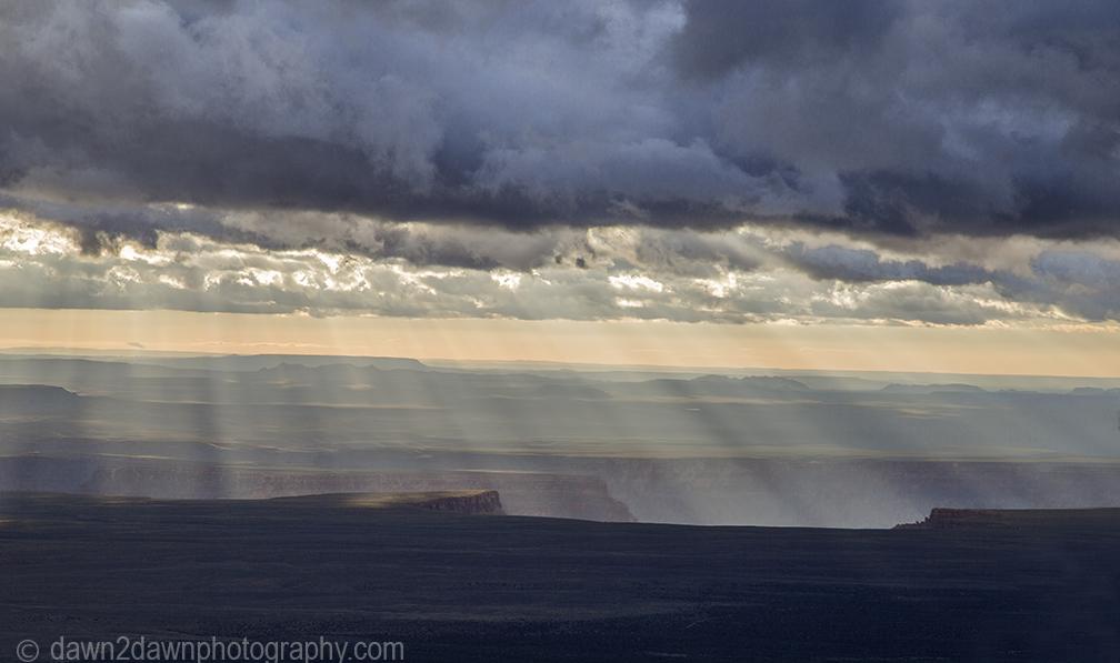 Thunderstorms pass through the Grand Canyon at Grand Canyon National Park, Arizona