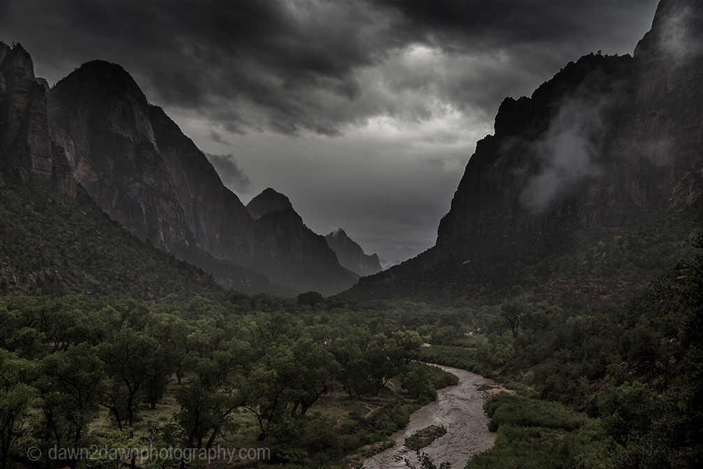 Heavy rains swell the Virgin River at Zion Canyon at Zion National Park, Utah