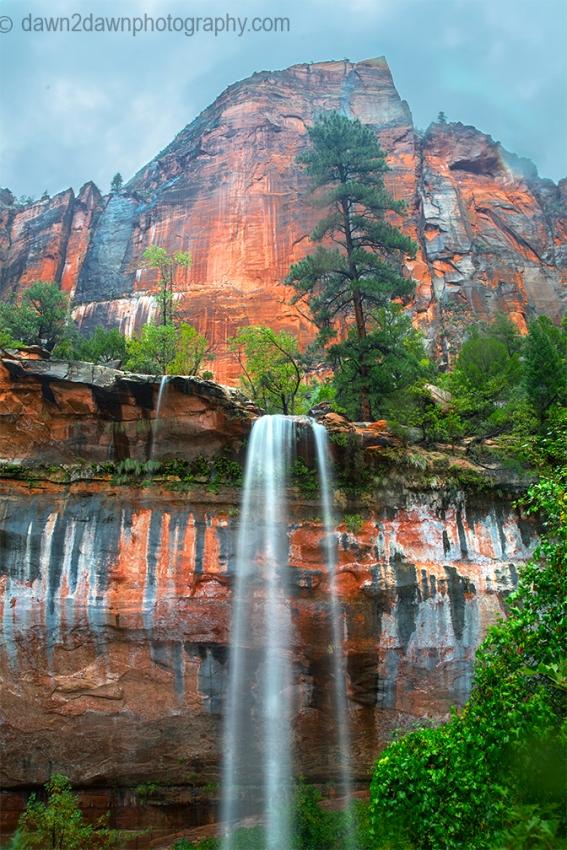 Heavy rains produce waterfalls at Emerald Pools at Zion National Park, Utah