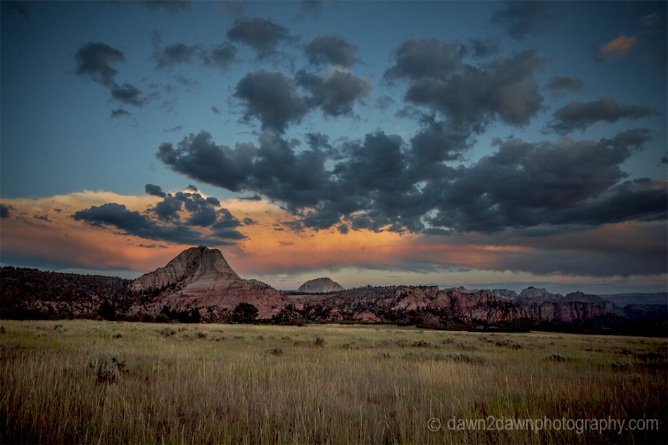 Sunset at Zion National Park from Kolob Terrace, Utah