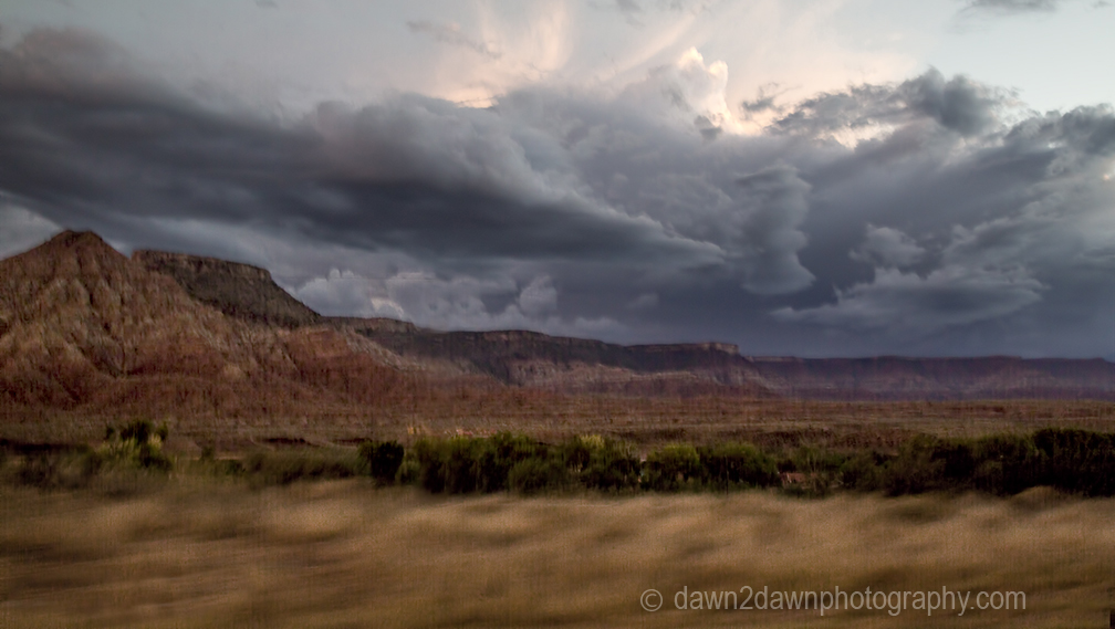 A storm approaches Zion National Park through Gooseberry Mesa in Southern Utah