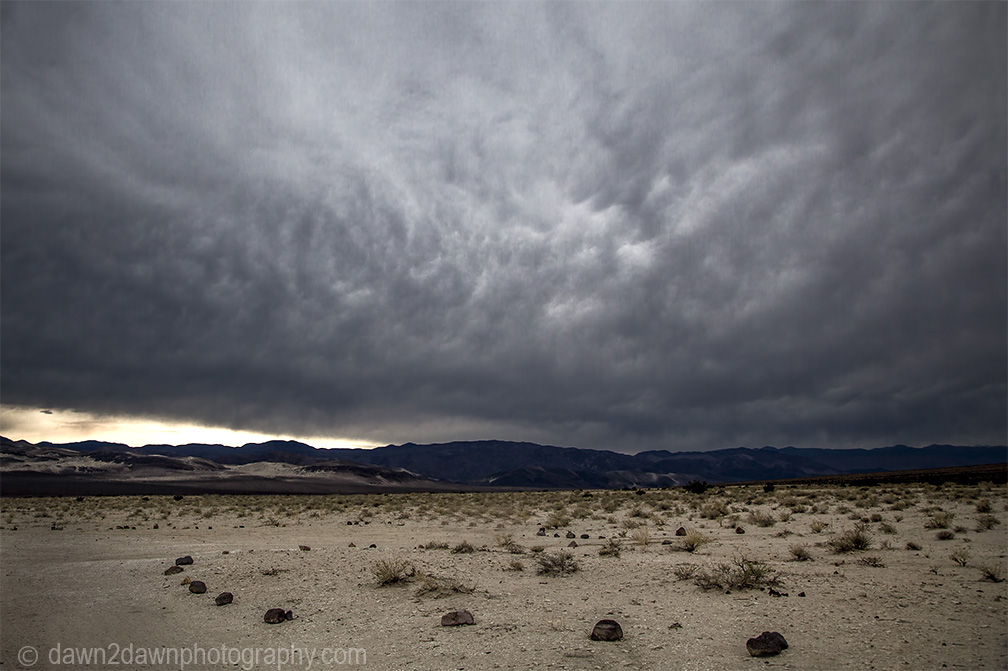 Storm clouds threaten Eureka Valley at Death Valley National Park, California