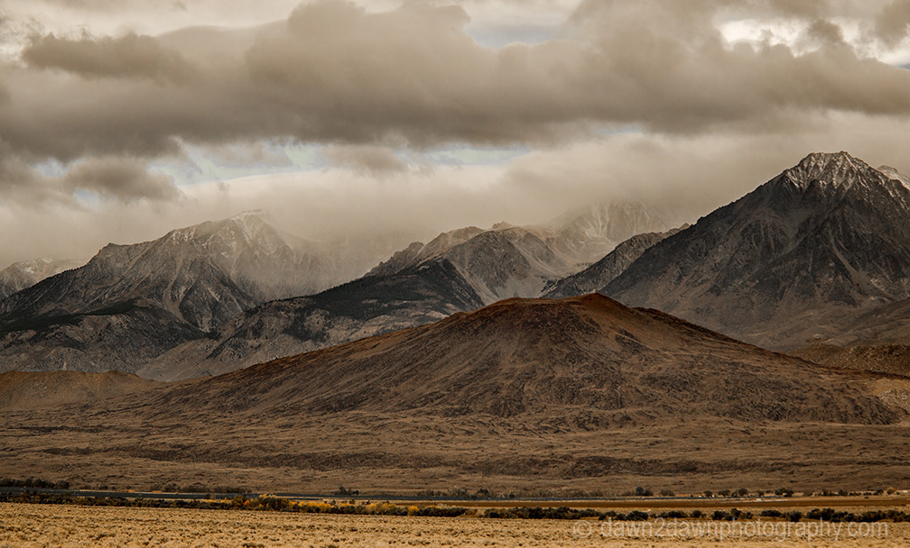 Fresh snow covers the high peaks of the Sierra Nevada Mountain Range as seen from Owens Valley, California