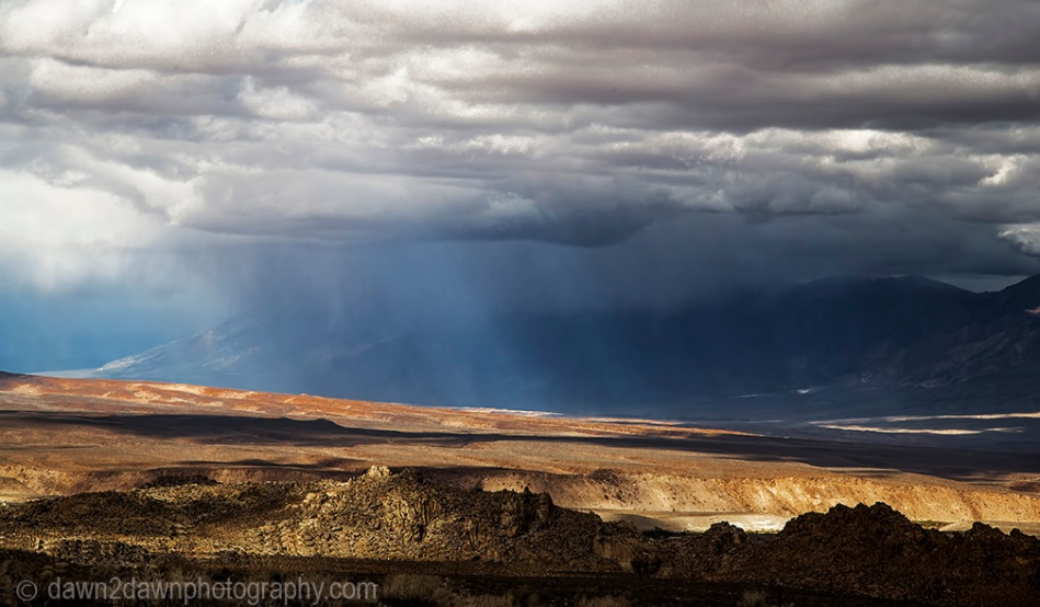 A storm passes through Owens Valley, California