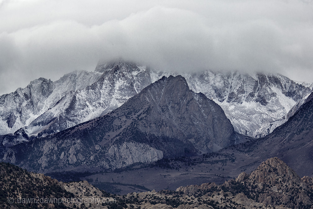 Fresh snow cover the high peaks of the Sierra Nevada Mountain Range, California