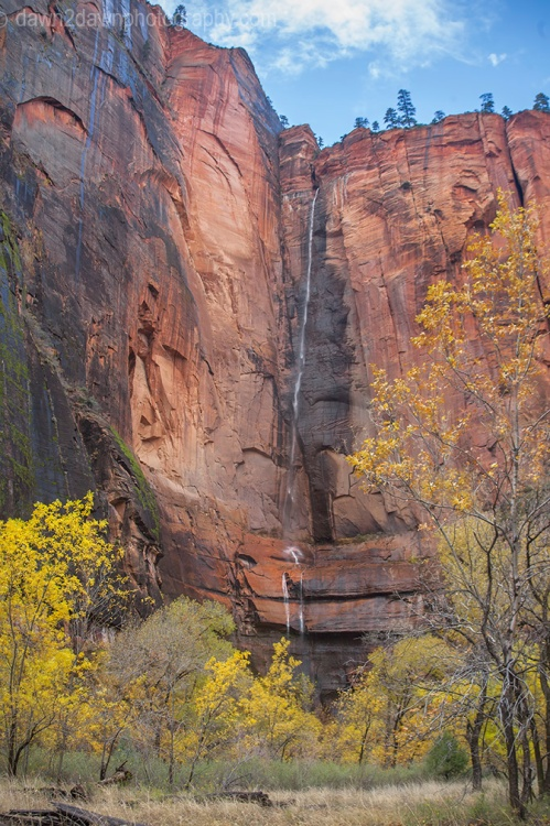 A seasonal waterfall flows from the top of Zion Canyon at Zion National Park, Utah