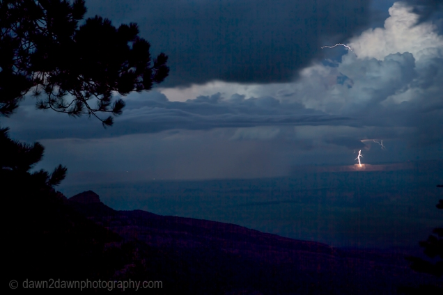 Lightning strikes near a small town in Northern Arizona