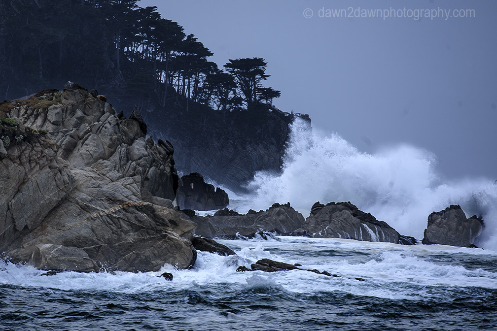 A passing storm produces high surf along California's Pacific Ocean Coastline near Carmel at Point Loma.