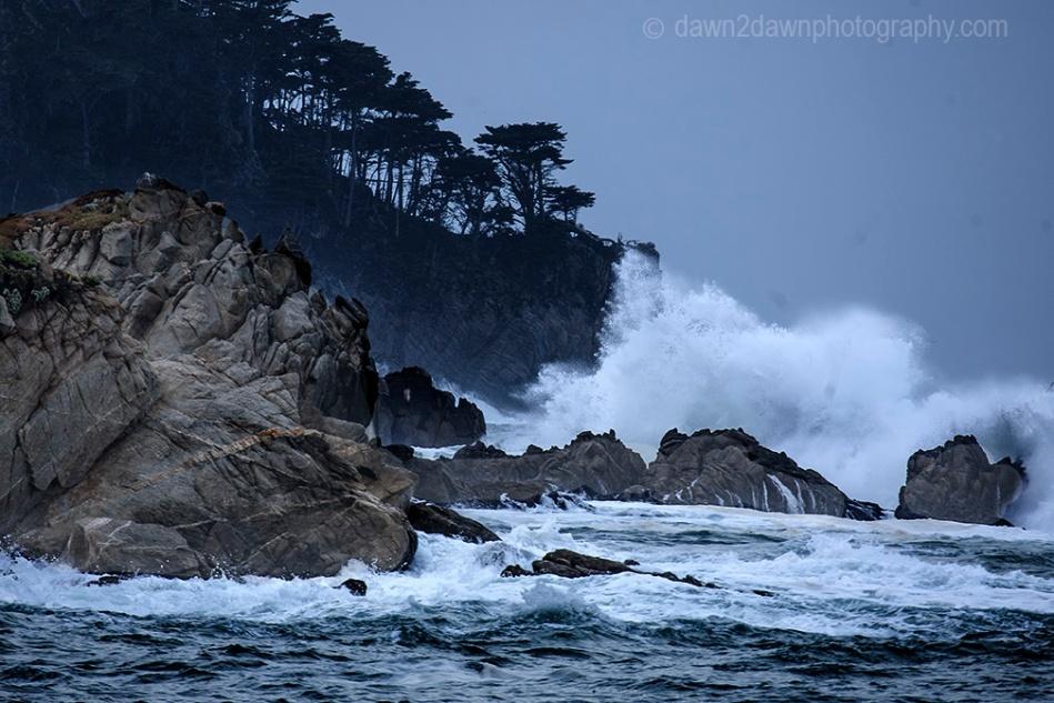 A passing storm produces high surf along California's Pacific Ocean Coastline near Carmel at Point Loma.