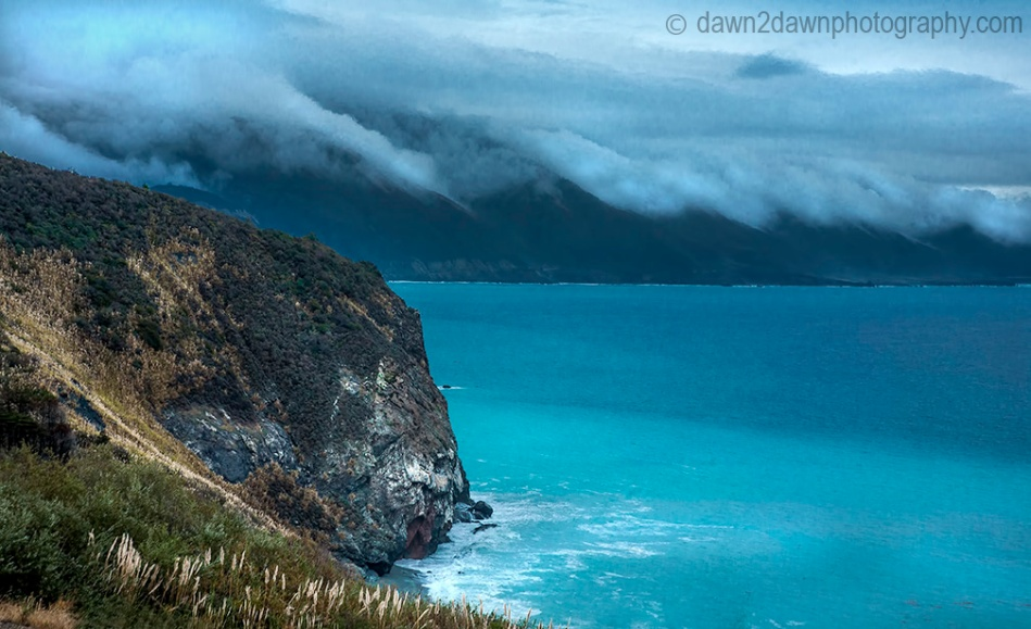 A passing storm produces high surf along California's Pacific Ocean Coastline near Big Sur