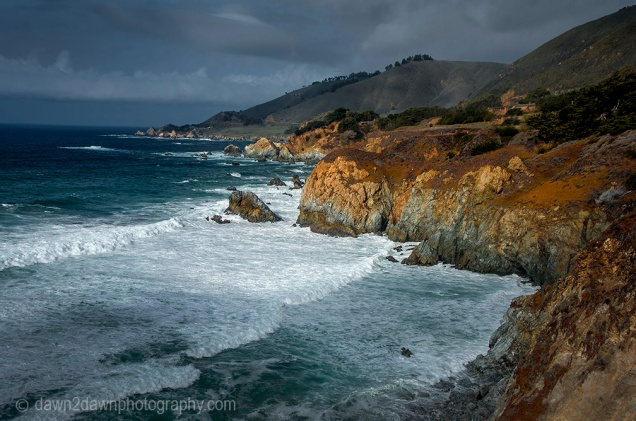 A passing storm produces high surf along California's Pacific Ocean Coastline near Big Sur