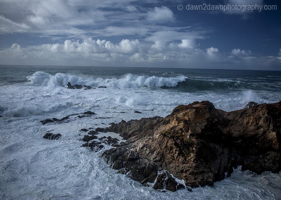 A passing storm produces high surf along California's Pacific Ocean Coastline near Carmel