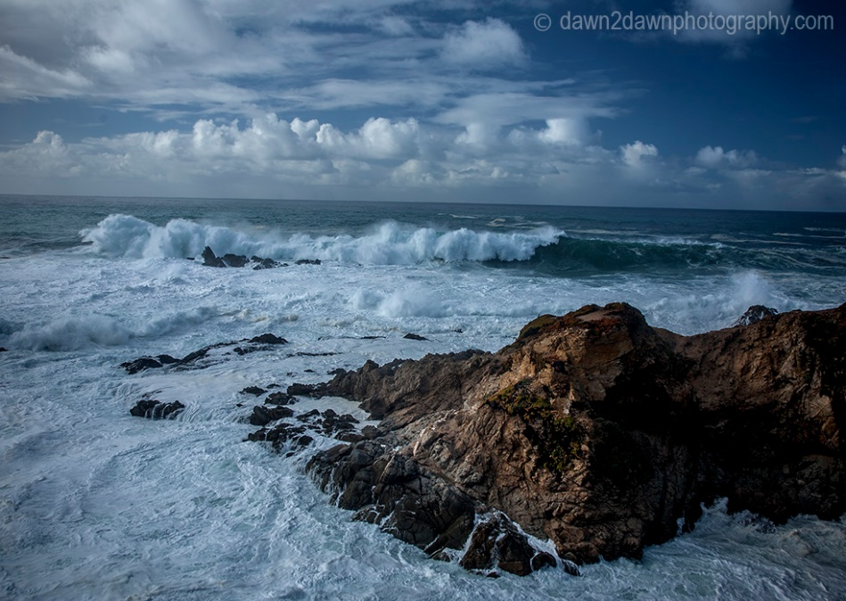 A passing storm produces high surf along California's Pacific Ocean Coastline near Carmel