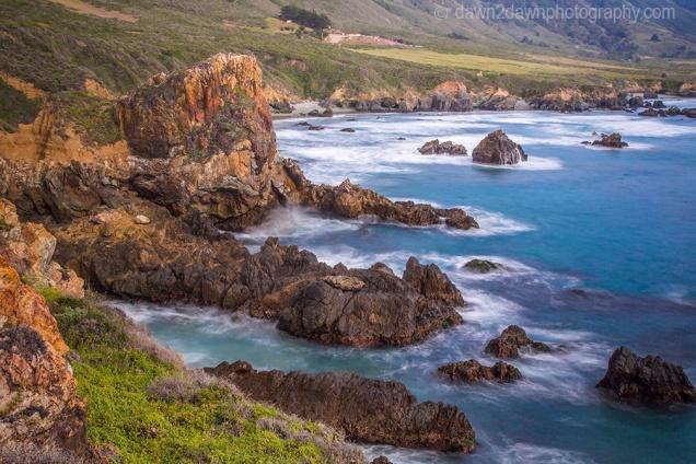 Waves crash upon the rocky California Coastline