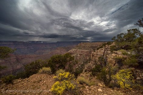 Thunderstorms pass through the Grand Canyon at Point Sublime at Grand Canyon National Park, Arizona