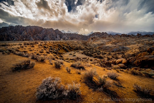 A passing storm produces fog and clouds over the Alabama Hills and the Sierras Nevadas in the Owens Valley of California