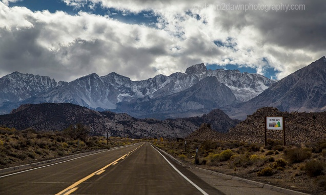 Fresh snow cover the high peaks of the Sierra Nevada Mountain Range, California