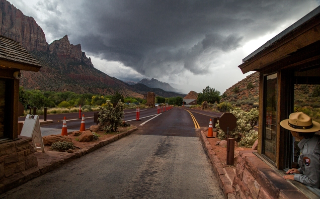 A monsoonal storm approaches Zion National Park, Utah