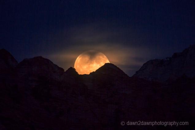 The full moon rises at Zion National Park, Utah