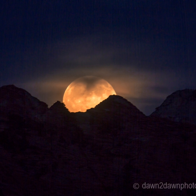 The full moon rises at Zion National Park, Utah