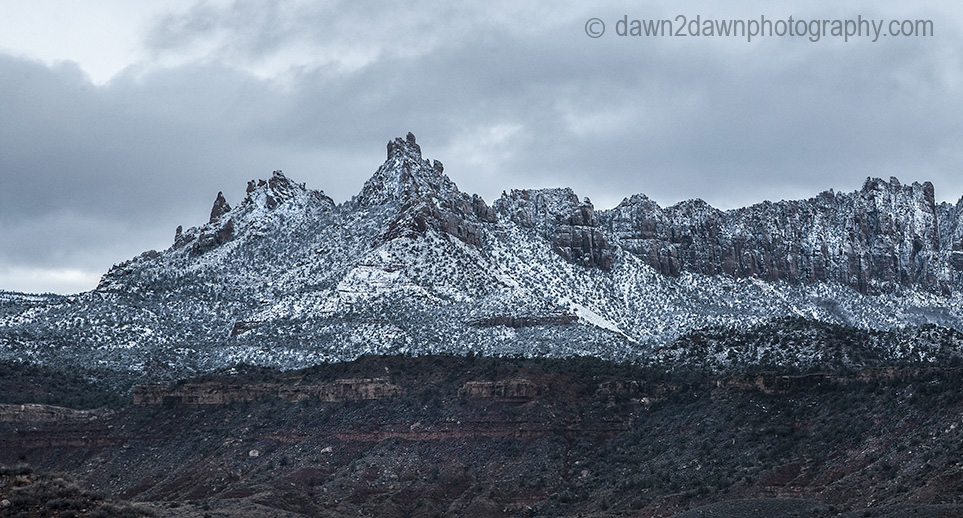 Fresh snow has fallen during winter at Eagle Crags near Zion National Park, Utah