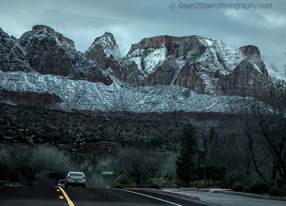 Fresh snow has fallen during winter at Zion National Park