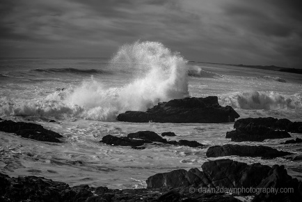 Waves crash along California's Pacific Ocean Coast near Cambria.