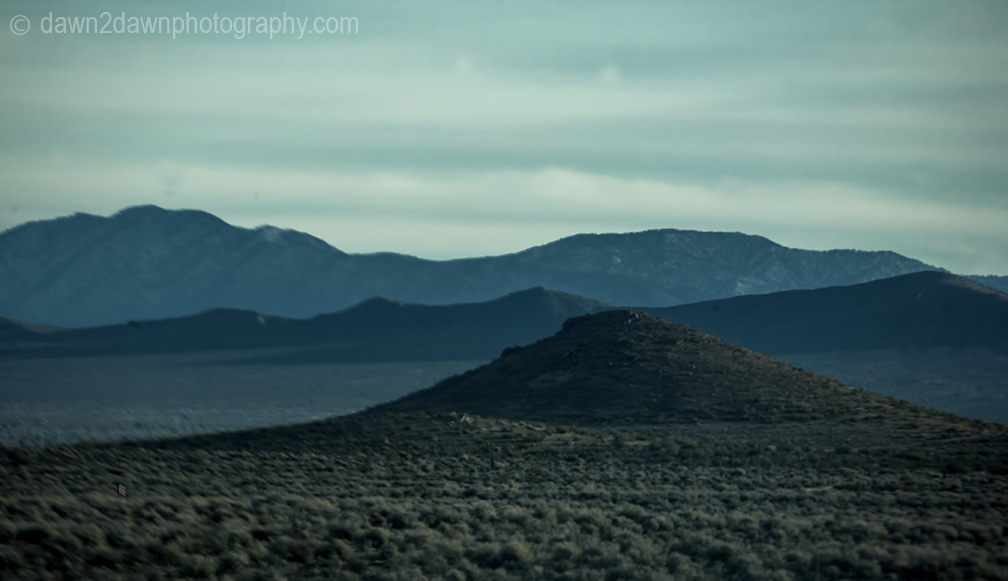 Sagebrush is the dominate feature in California's high desert near Mojave