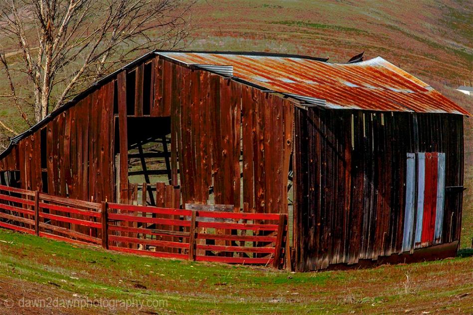 A bright barn in rural California