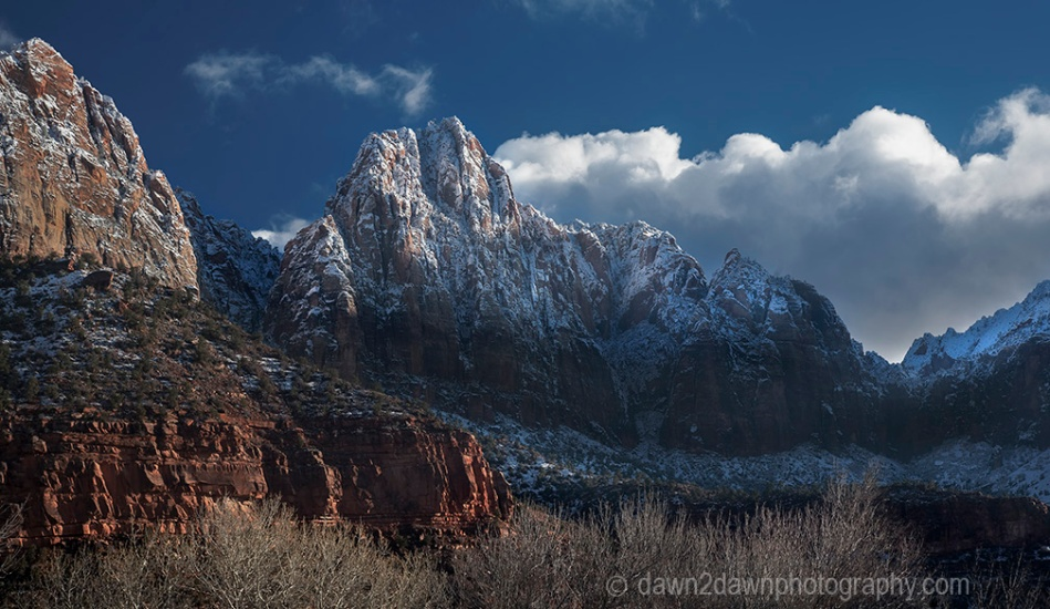 Fresh snow has fallen during winter at Zion National Park, Utah