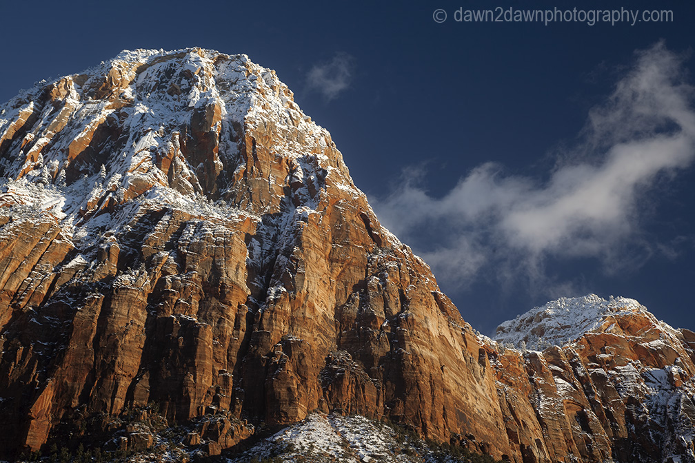 Fresh snow has fallen during winter at Zion Canyon at Zion National Park, Utah