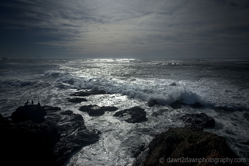 Waves crash along California's Pacific Ocean Coast near San Simeon