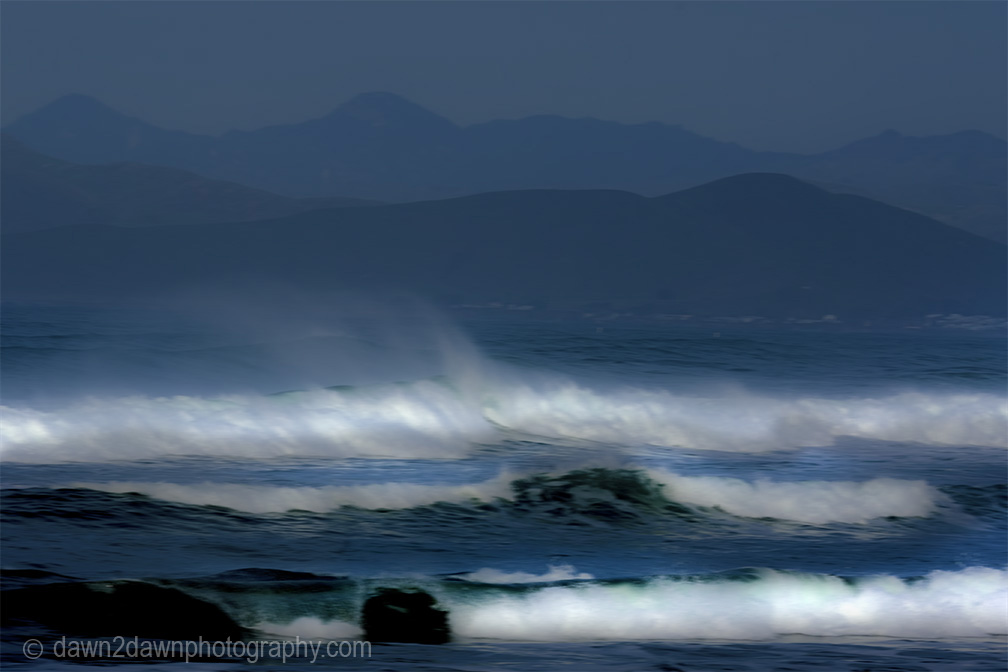 Waves pound the beach at Moro Bay, California