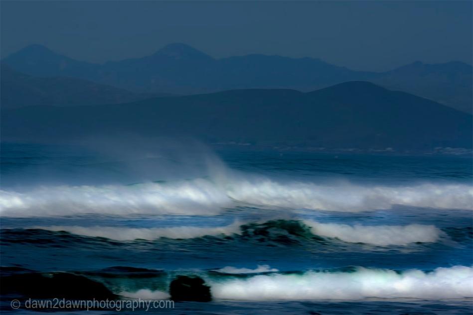 Waves pound the beach at Moro Bay, California