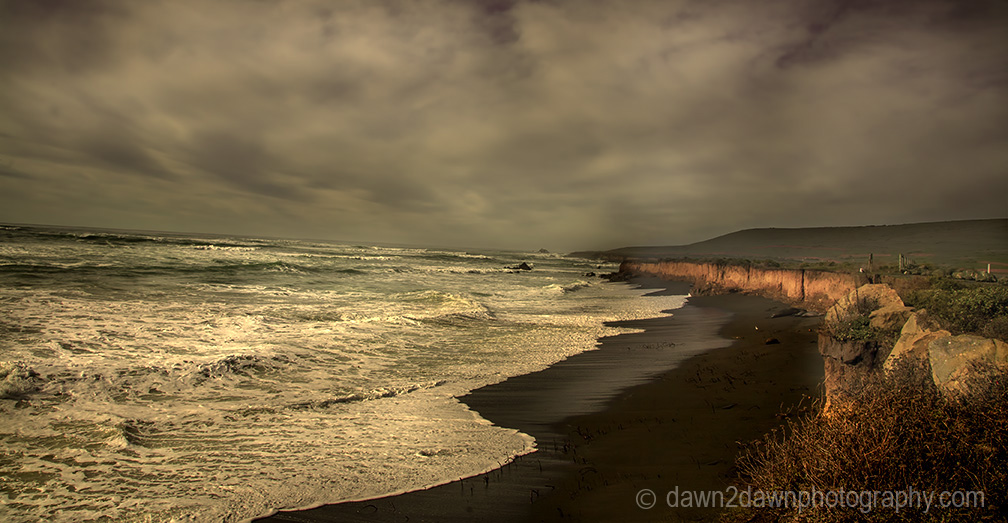 Waves crash along California's Pacific Ocean Coast near San Simeon